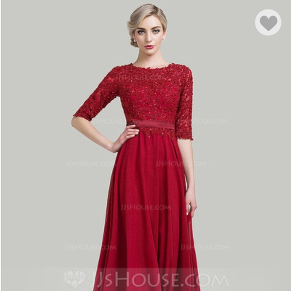 JJs House Dresses | Jj House Nwt Red Chiffon Floorlength Evening ...